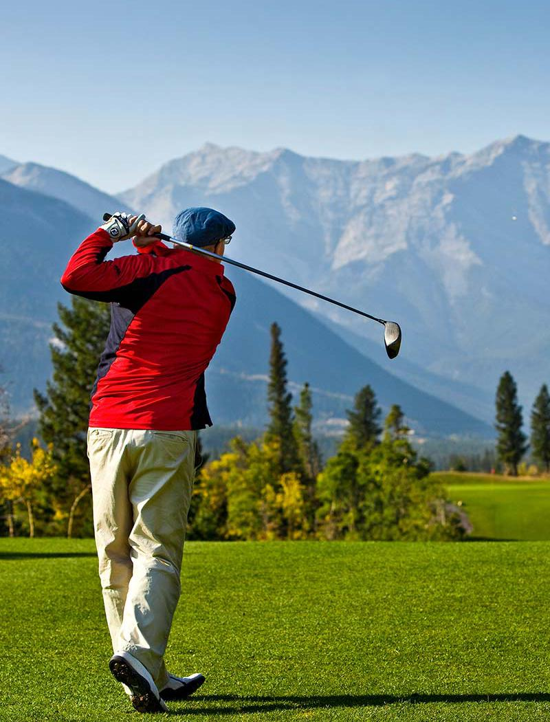 Brewster's Golf, Kananaskis Ranch - A person teeing off