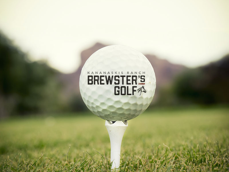 Brewster's Golf, Kananaskis Ranch, Golf ball on a tee with the logo.