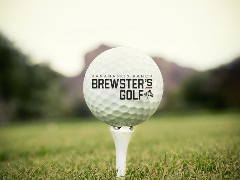 Brewster's Golf, Kananaskis Ranch, Golf ball on a tee with the logo.