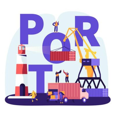 shipping-port-concept-harbor-crane-loading-containers-seaport-workers-carry-boxes-from-truck-docks-near-lighthouse-sea-logistic-poster-flyer-brochure-cartoon-flat-vector-illustration_87771-5532