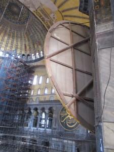 back of circular Islamic decorations in Hagia Sophia