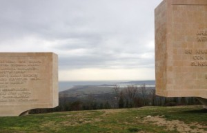 Dardanelle Straight from top of hill with monuments