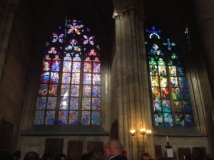 Two styles of stain glass side by side