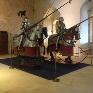 knight room, 12th century, with armor from 15th and 16th century