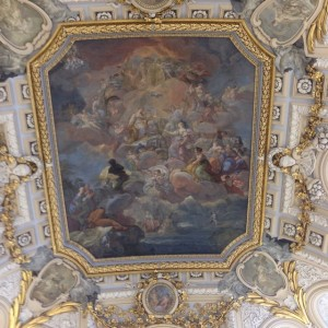 fresco on the ceiling of entrance staircase