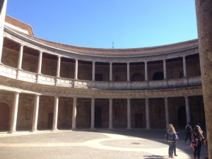unfinished interior of Palace of Charles V