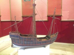 Columbus's boats were tiny (36 ft long by 10ft wide) and held 45 men, horses, and supplies