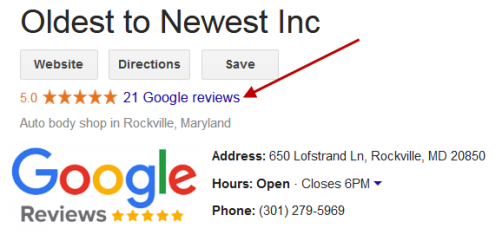 Oldest to Newest Google Review