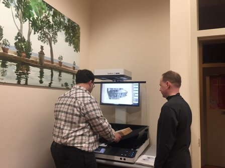 Using the Athenaeum's new scanner, Mike Seneca, Director of the Regional Scanning Center and Walt Harrington, our IT consultant, begin digitizing records from Philadelphia's historic congregations. The project is possible through CLIR funding.