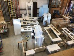 Organ case parts in Fisk's workshop