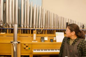 """""""Voicing"""" the pipes of an organ"""