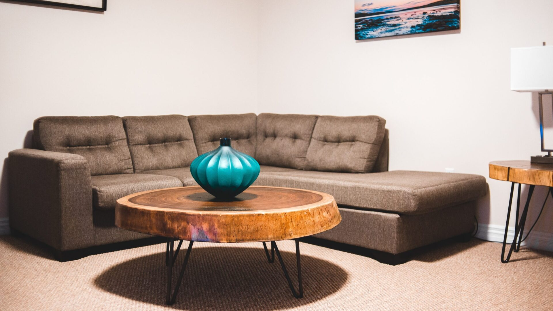 Modern Coffee Table with Blue Vase