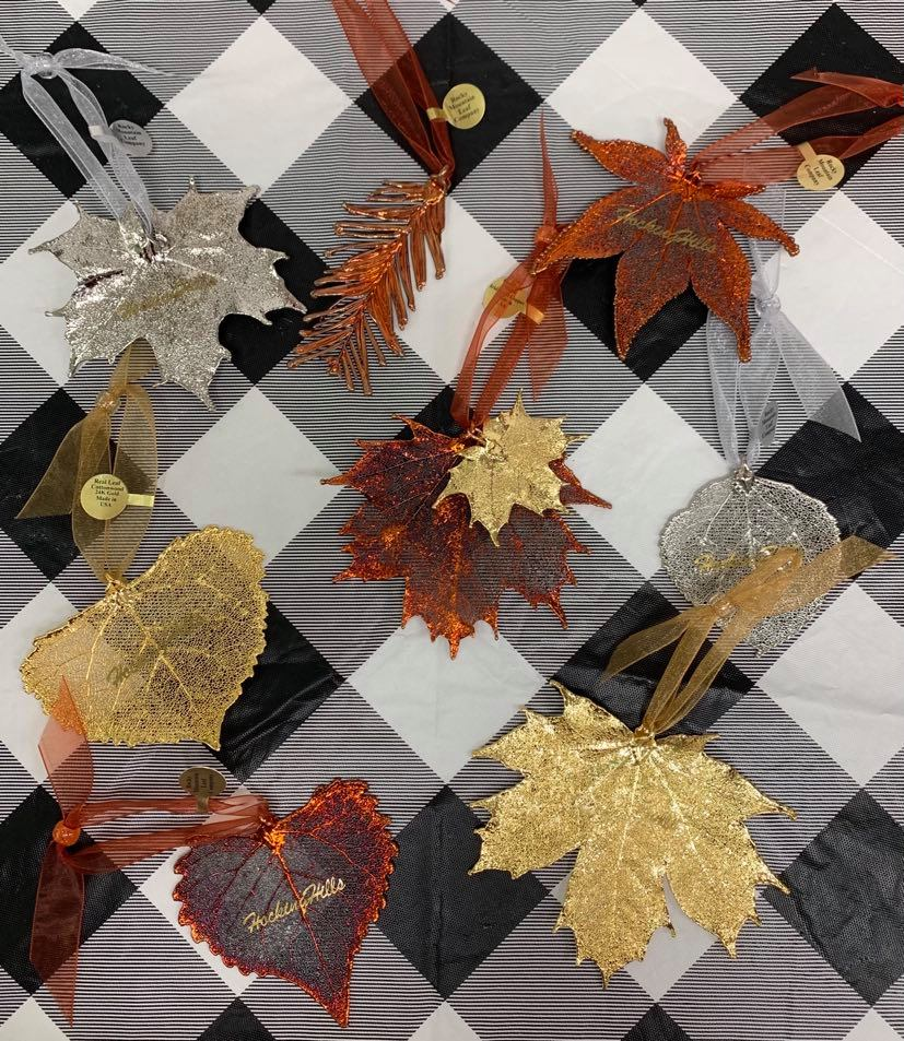 leaf ornaments on checkered backdrop
