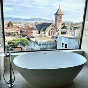 Bath tub overlooking Pacific Heights, San Francisco