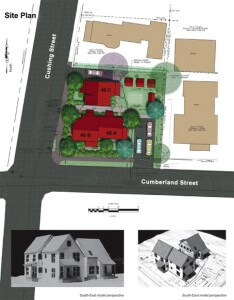 Site plan for 46 Cumberland Street, Brunswick, Maine is for three affordable homes.  This is a recent GBHC completed project.