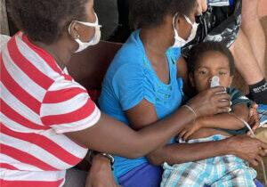Punta Piedra Boy Receives Nebulizer Treatments