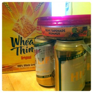 miller high life, hummus, and wheat thins