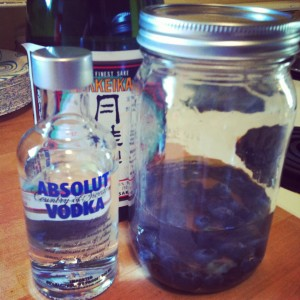 sake, vodka, blueberries, infusion, mason jar