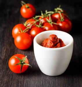 Ripe tomatoes and tomato paste