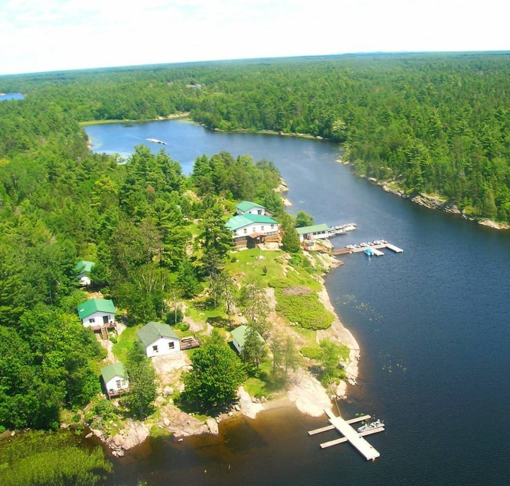 Birds Eye View of Bear's Den Lodge on the French River Provincial Park, Northeastern Ontario Canada