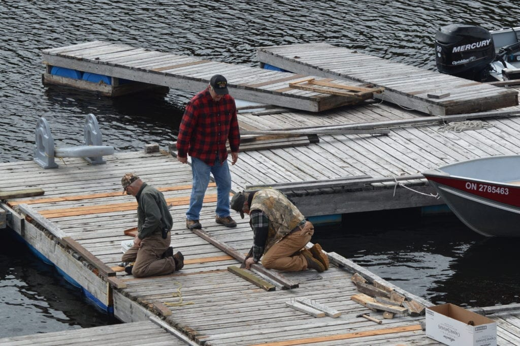 Floating Dock Repair, Spring 2017, Bear's Den Lodge French River