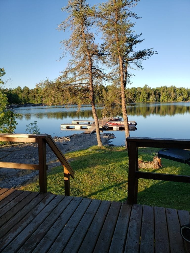 Morning View from the Ryder's Roost Cottage at Bear's Den Lodge - Fishing French River