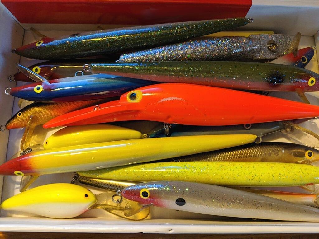 Box of fishing lures