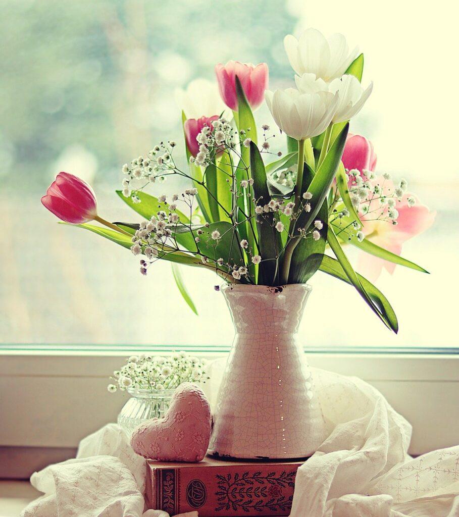 tulips, flowers, vase
