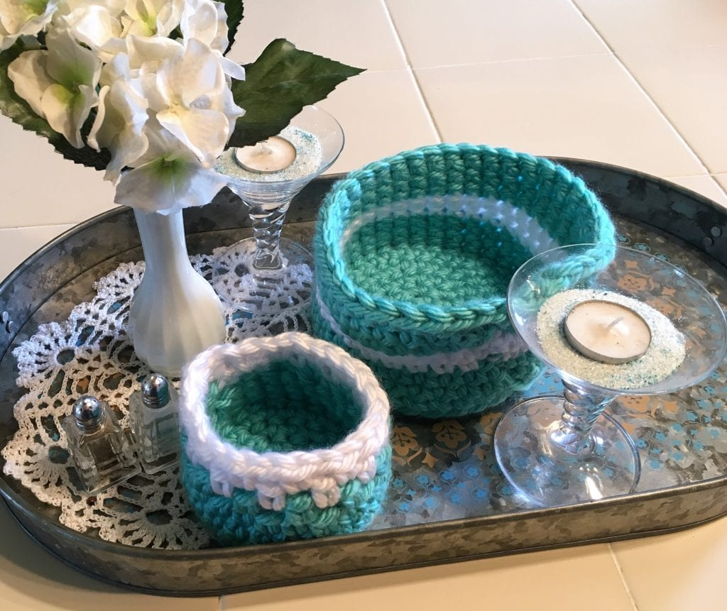 Small and medium crochet basket display