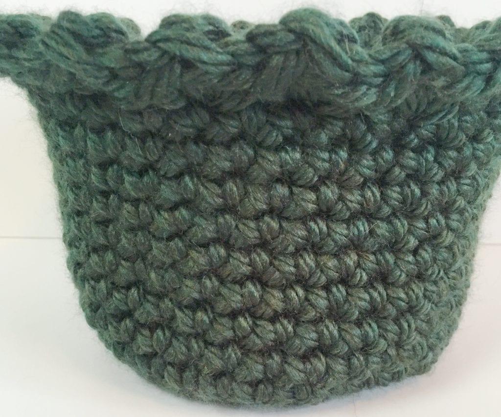 Dark green crochet basket