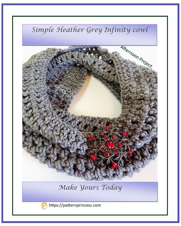 Simple Heather Grey Infinity Cowl 1
