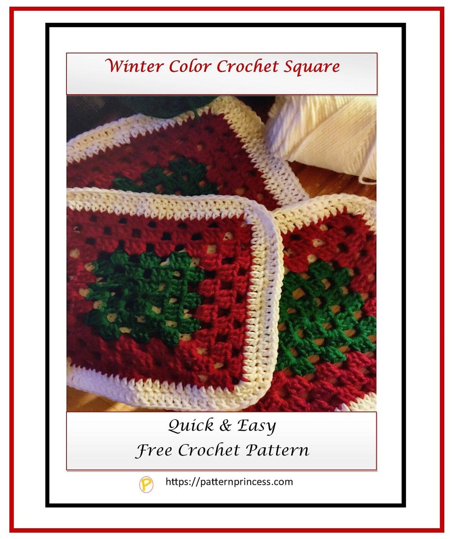 Winter Color Crochet Square 1