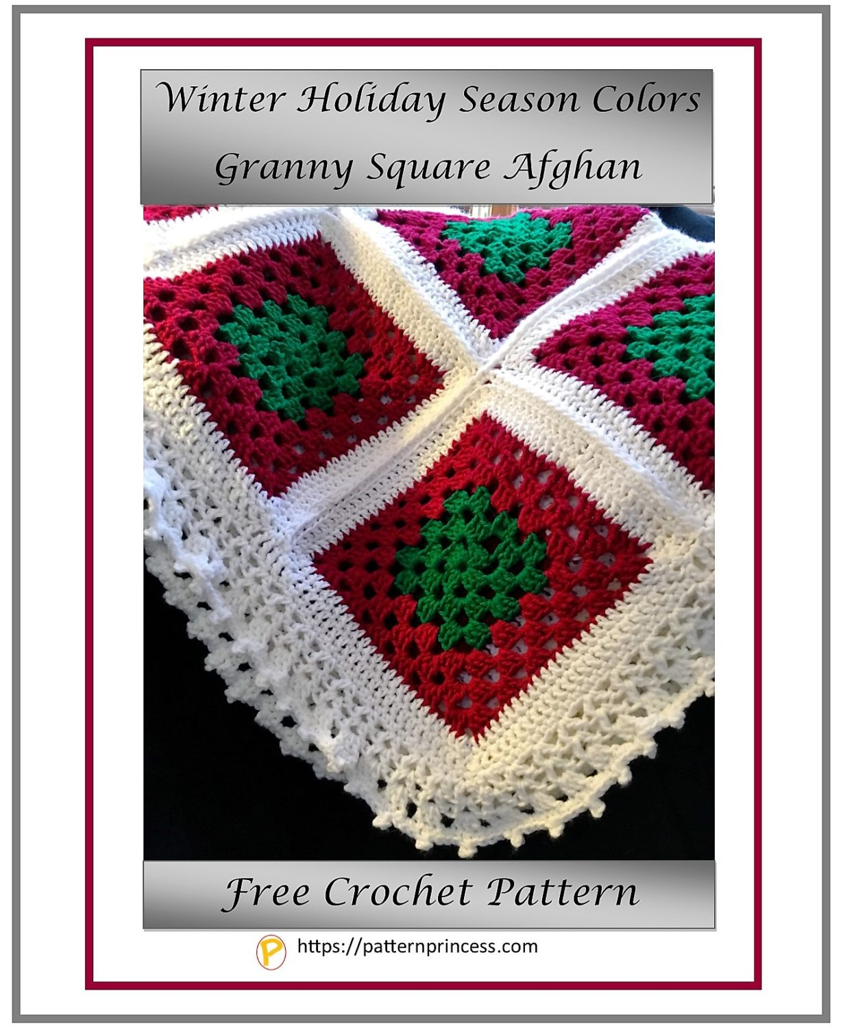 Winter Holiday Season Colors Granny Square Afghan 1
