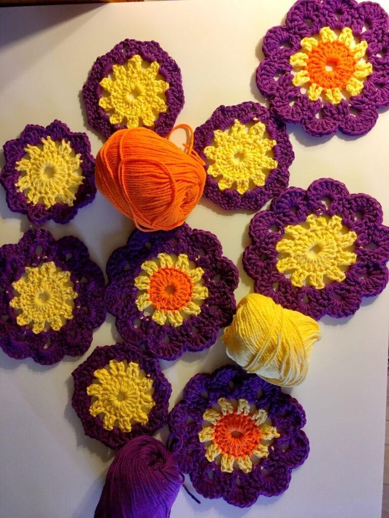 Crochet Colorful Sunshine Coaster Pattern