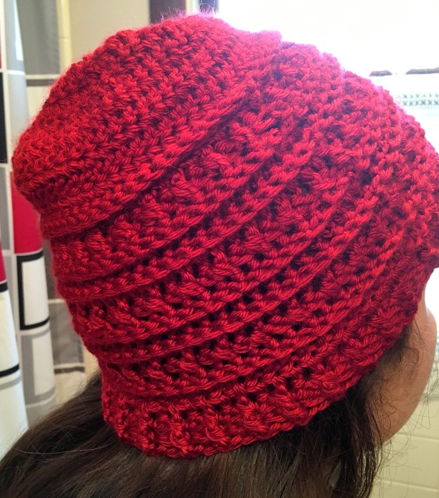 Side View of Hat being worn
