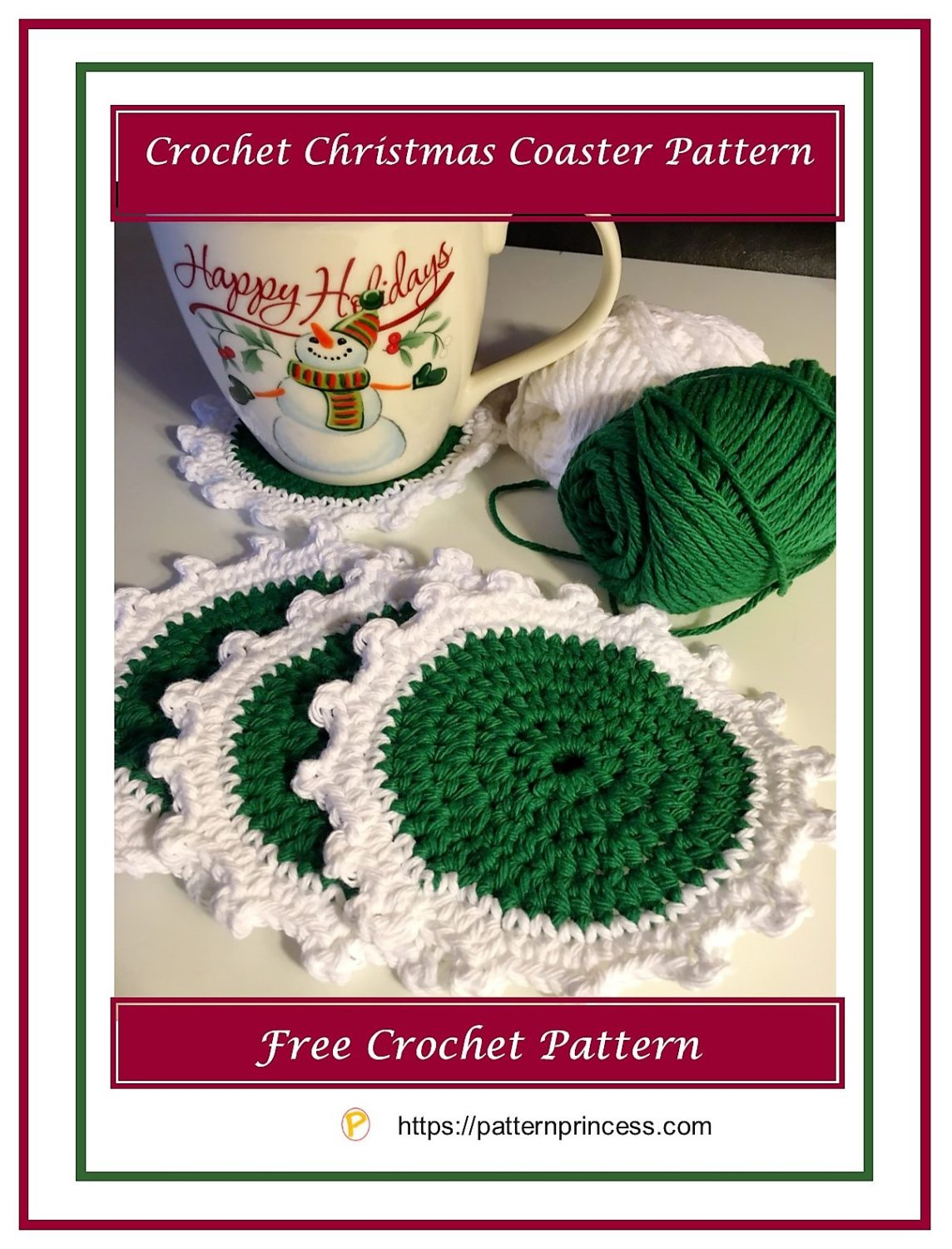 Crochet Christmas Coaster Pattern 1