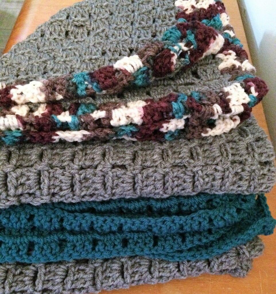 Crochet Block Baby Blankets Folded