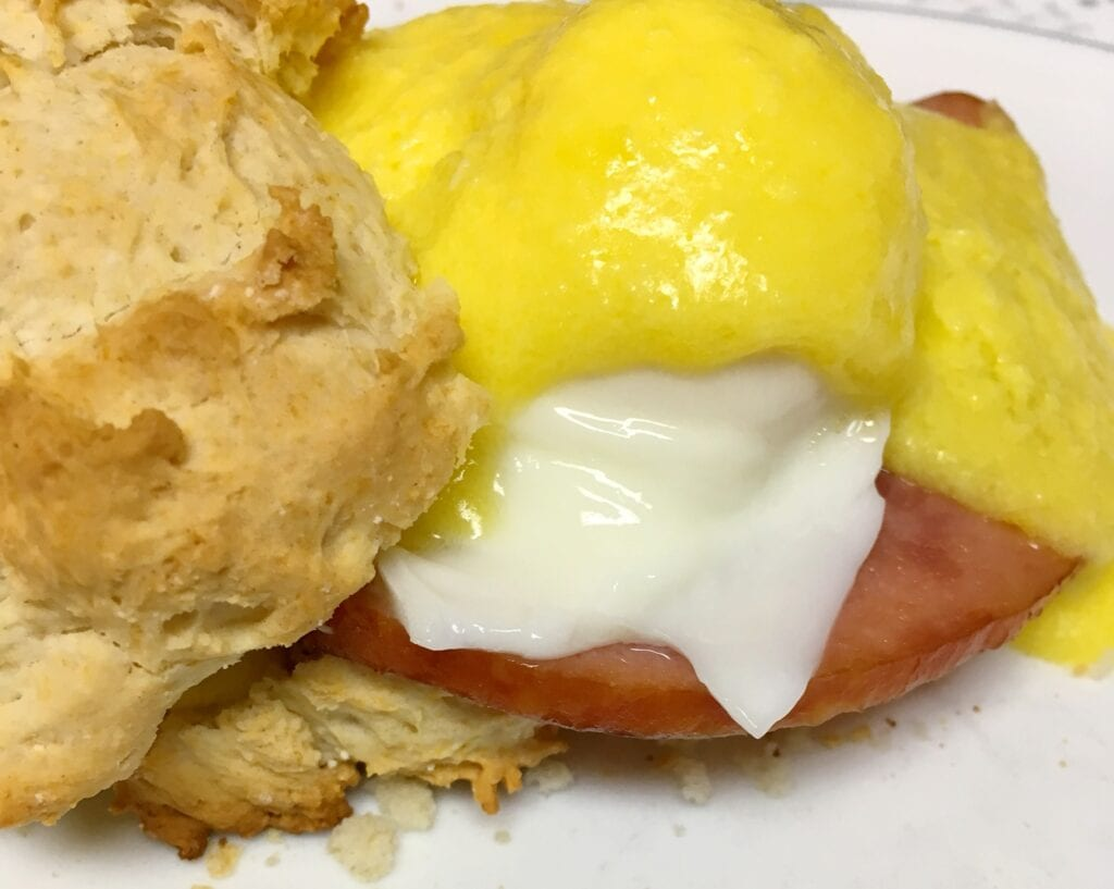 buttery toasted muffin and covered with hollandaise sauce