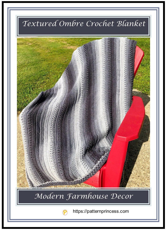 Textured Ombre Crochet Blanket 1