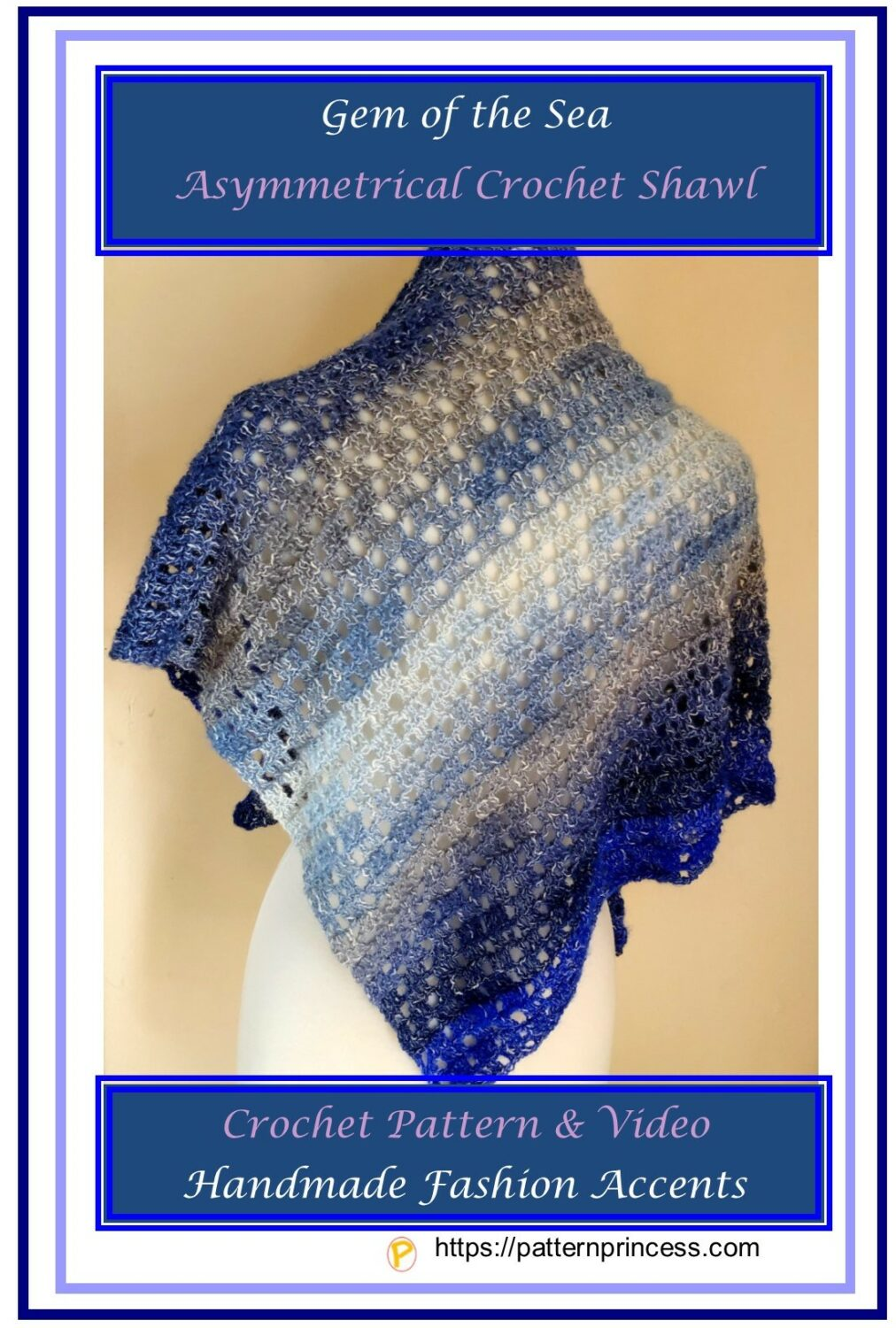 Gem of the Sea Asymmetrical Crochet Shawl 1