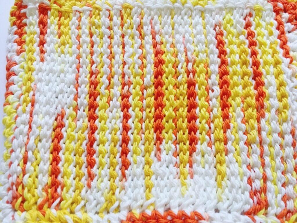 Yellow & Orange Tunisian Crochet Washcloth