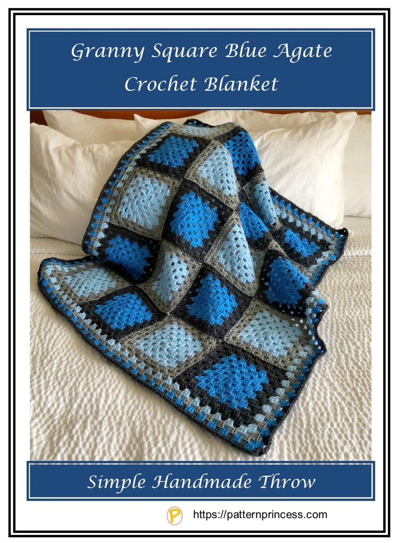 Granny Square Blue Agate Crochet Blanket