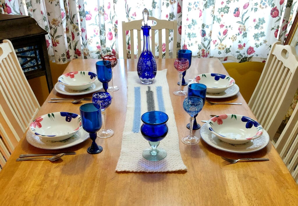 Table Setting with the Crochet Table Runner at the Center