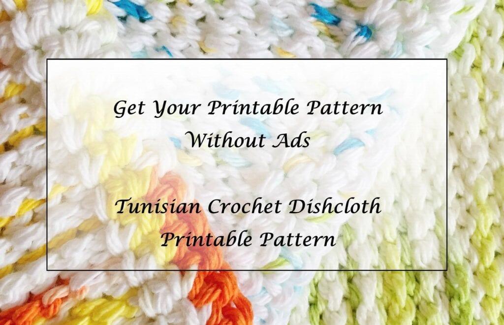 Tunisian Crochet Dishcloth Printable Pattern