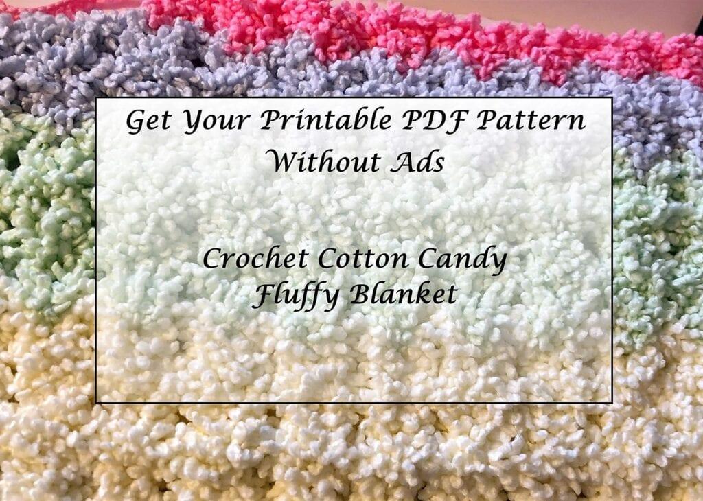 Crochet Cotton Candy Fluffy Blanket Printable Pattern