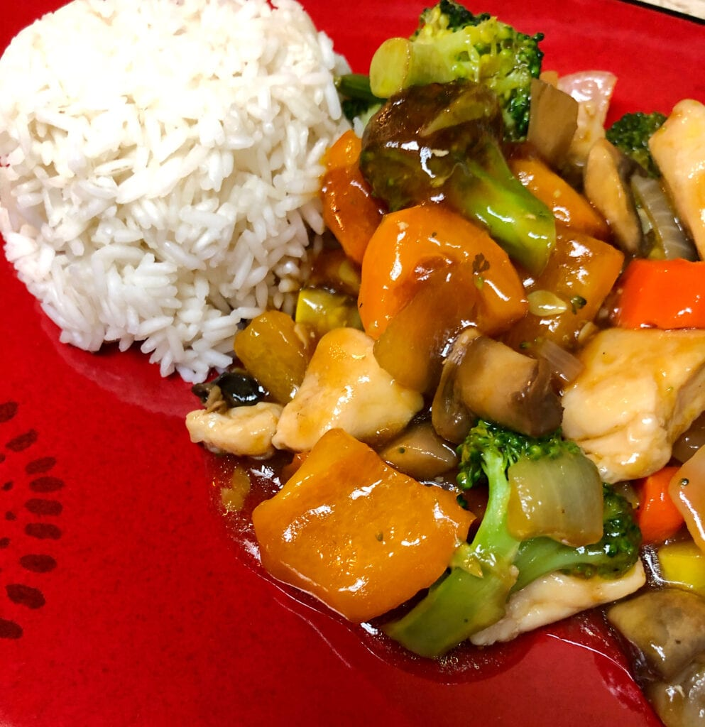 Chicken and Vegetables in Brown Sauce Served with Rice