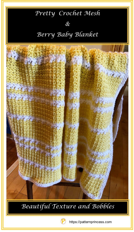 Pretty Crochet Mesh and Berry Baby Blanket