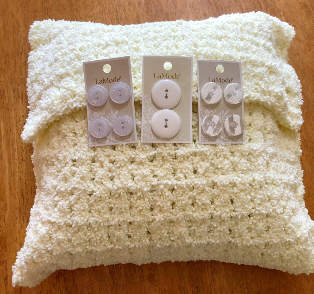 Choosing the Buttons for the Crochet Pillow
