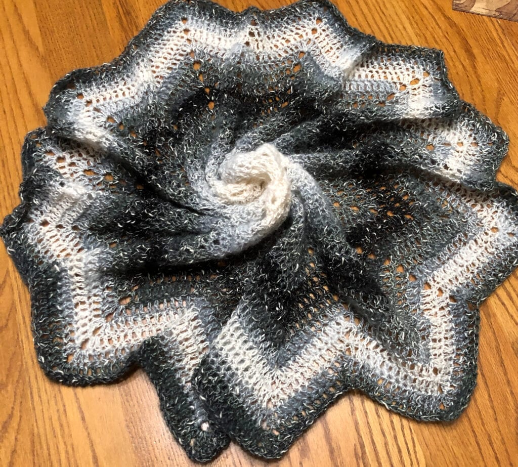 Crochet Gothic Center Piece Swirled in the Middle Displayed on a Table