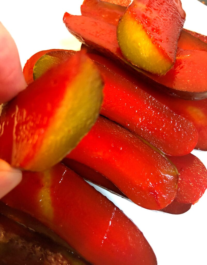 Kool-Aid Pickles Sliced Open